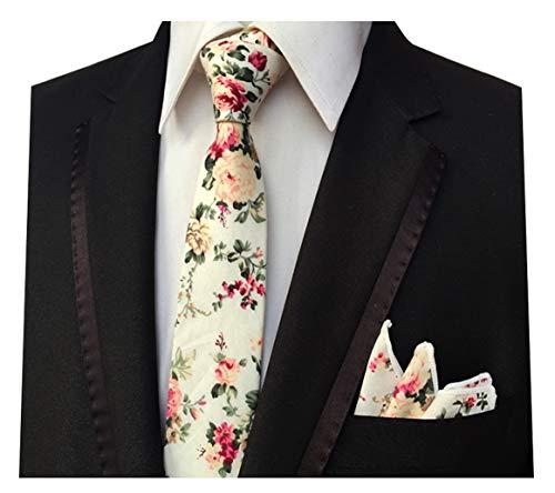 - L04BABY Men's Skinny Handkerchief Tie Cotton Floral Necktie & Pocket Square Set