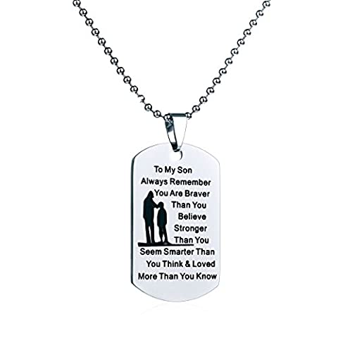 Dad Mom To Son Dog Tag Necklace Military Mens Jewelry Personalized Custom Dogtags Pendant Love Gift (Love Jewelry For Men)