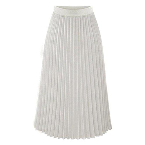 Blanc Taille Elastique Jupe Femmes Toute Maxi en Sixcup Longue Jupe Robes Saison Pliss la Plisse xAn68qSXYw