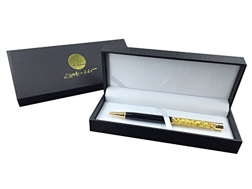 Zone - 365 Lady Gold Pen. Ballpoint Pen Gift Set. 24K Gold Trim and Accompaniment with beautiful gift box. Includes (1) Cross D1 Ink Refill. (Black)