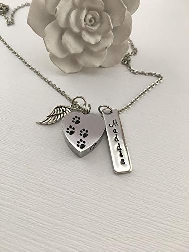 Pet Urn Angel Wing Charm Pendant Memorial Keepsake Necklace Sympathy Bereavement Gift Loss of Dog Cat Cremation Jewelry Custom Personalized Name Ashes Birthday Christmas Present (Angel Charm Pet)