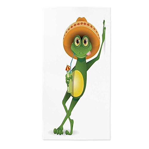 Cartoon Waterproof Tablecloth,Frog in a Sombrero and a Cocktail Drink Glass Fauna Hot Weather Holiday for Dining Table Tea Table Desk Secretaire,24''W X 48''L