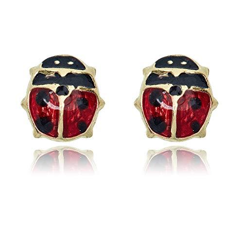 14K Yellow Gold Red and Black Enamel Ladybug Stud Screw Back Earrings