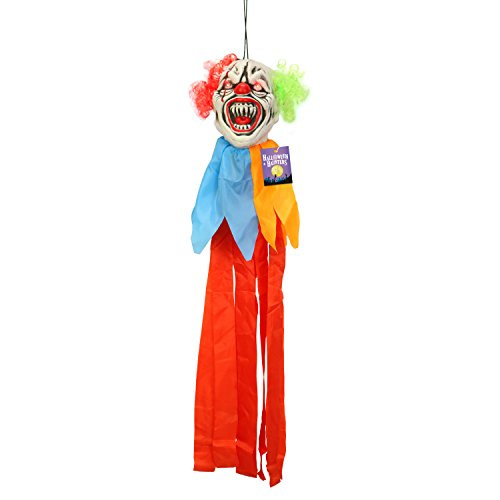Halloween Haunters 3 Foot Hanging Circus Clown Head with Flashing Red LED Light Up Eyes Prop Decoration - Scary Menacing Ghoul Smile with Neon Red and Green Hair - Fun Entryway Display]()