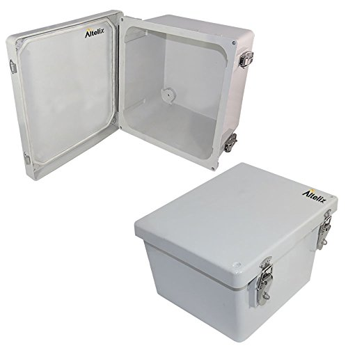 Altelix 10x8x6 FRP Fiberglass NEMA 4X Box Weatherproof Enclosure with Hinged Lid & Stainless Steel (Outdoor Fiberglass)