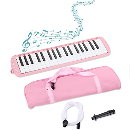 37 Keys Melodica Musical Instrument, Suitable for Music Lovers Beginners Gift with Carrying Bag by Bagvhandbagro (Pink) by Bagvhandbagro