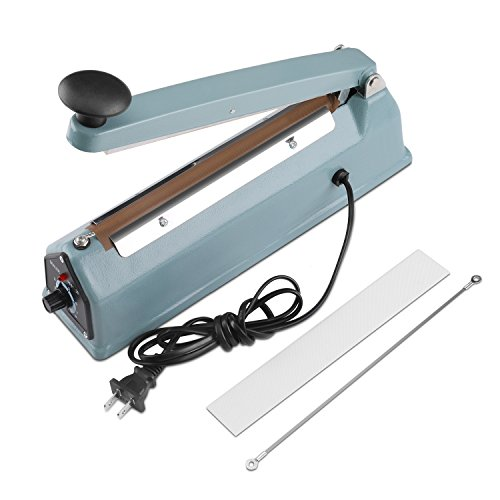 Flexzion 8'' (200mm) Impulse Sealer - Manual Plastic Poly Bag Heat Sealing Machine Closer Kit w/Adjustable Timer, Portable with Free Replacement Element Grip and Teflon Tape by Flexzion (Image #4)