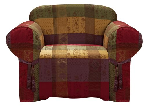 Chezmoi Collection Gitano Burgundy Purple Green Gold Heavy-Duty Jacquard Armchair/Arm-Chair Cover Slipcover