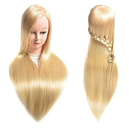 Manikin Head Cabeza Manikins Para Peluca Cabello Pelo Profesional Hair And Free Clamp Holder Bleach Blonde