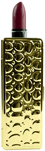 Boxed Travel Lipstick Case With Mirror (Gold Leather Print)