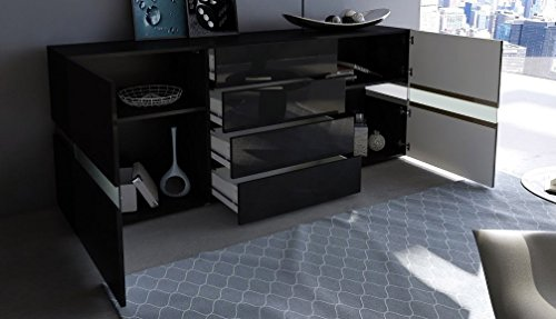 Credenza Moderna Con Led : Credenza moderna faro mobile nero con led: amazon.it: casa e cucina