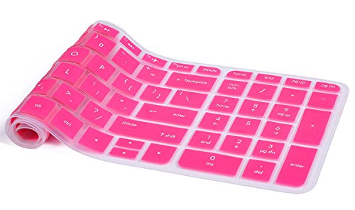 Keyboard Skin for 15.6 HP Pavilion 15-ab 15-ac 15-ae 15-af 15-an 15-ak 15-au 15-aw 15-ax 15-ay 15-ba 15-bc 15-bk US Layout - Compatible Model in the product description, Hot Pink