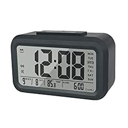BESTWYA Smart Alarm Clock,Talking Clock with 3 Alarms, Optional Weekday Alarm, Intelligent Noctilucent & Snooze Function, Month Date & Temperature Display for Adults, Kids & Teens (Black)