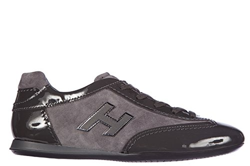 Hogan Donna Sneakers Donna Pelle Scarpe Sneakers Olympia H Flock Grigio