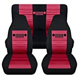 Totally Covers Fits 1997-2006 Jeep Wrangler TJ Seat Covers: Black & Burgundy - Full Set: Front & Rear (23 Colors) 1998 1999 2000 2001 2002 2003 2004 2005 2-Door Complete Back Bench