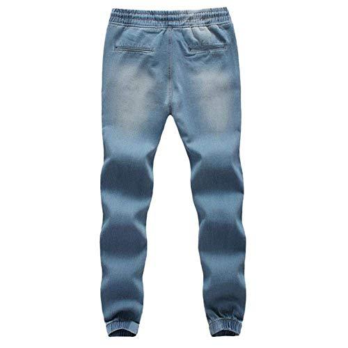 Hombres Trabajo De Cordones Pantalones Pantalones Mezclilla Pantalones De Chándal De Yasminey con Pantalones Algodón Ocasionales De De Hellblau De Denim Streetwear Joven Los Pantalones Elásticos con Ajustados E58xwIqAw