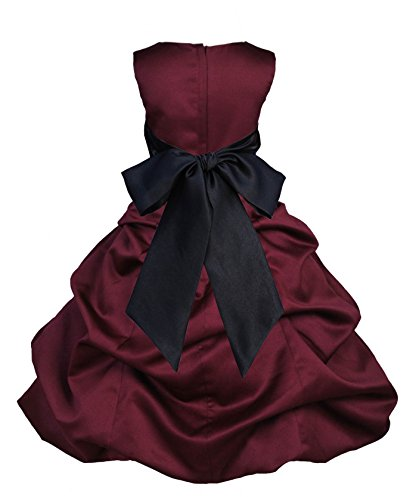Black Satin Bubble (ekidsbridal Burgundy Satin Pick-Up Bubble Flower Girl Dress Daily Dress 806S 14)