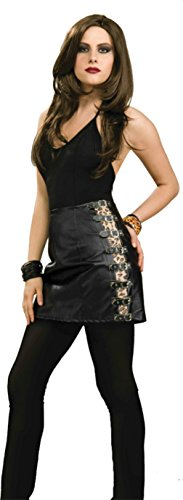 Forum Novelties Womens Black Skirt 80'S Rocker Chick Skirt Leopard Sexy Costume, One Size (80's Chick Costume)
