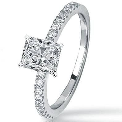 0.74 Carat GIA Certified Princess Cut / Shape 14K White Gold Classic Side Stone Prong Set Diamond Engagement Ring ( H Color , VVS1 Clarity )