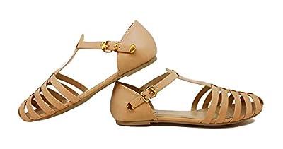 Paprika MVE Shoes Women Leatherette Almond Toe T-Strap Fisherman Flat Sandal