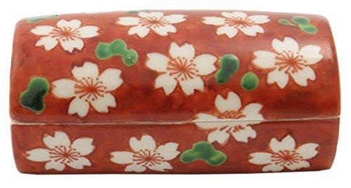 Red Sakura Kiyomizu Yaki Porcelain 3.5inch Toothpick holder