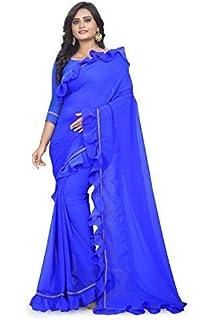 3a03ba6f5aa8bf Aradhya Fashion Women s Marbal Art Ruffle frill Saree With Banglori Blouse  Piece