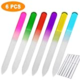 Glass Nail Files (6PCS) Crystal Glass Nail File Set by LURICO - Glass Manicure Tools - Glass Fingernail Files for Natural & Acrylic Nails Double Side Nail Care with Case- 6 Color