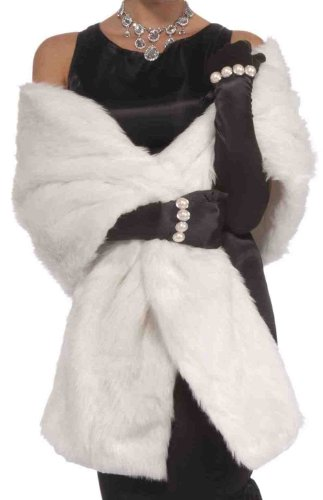 Forum Novelties Vintage Hollywood Faux Mink Stole, White,