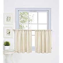 "Elrene Home Fashions 026865775327 Solid Hemstitched Rod Pocket Cafe/Kitchen Tier Window Curtain, Set of 2, 30"" x 24"", Ivory"