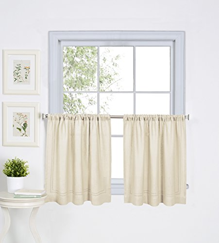30 Inch Window - Elrene Home Fashions 026865775327 Solid Hemstitched Rod Pocket Cafe/Kitchen Tier Window Curtain, Set of 2, 30