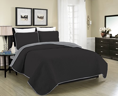 Blissful Living Reversible Luxury Pinsonic Solid Quilt Set Including Shams – Lightweight and Soft for All Year Round Comfort, Available in Twin, Full / Queen and King Size (Black/Grey, Twin) (For Bedspread Teens)