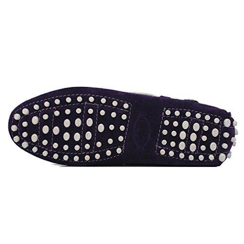 Minishion Flickor Womens Avslappnad Knut Mocka Slip-on Lägenheter Drivande Båt Skor Loafers Lila / Vit