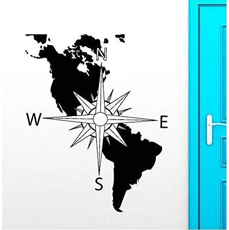 Brújula Vinilo Tatuajes de Pared América Continente Mapa Arte de ...