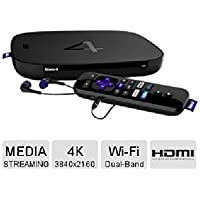 Roku 4 Wi-Fi Ultra HD 4K Streaming Media Player with Earbuds,HDMI Cable and Enhanced Remote with Voice Search