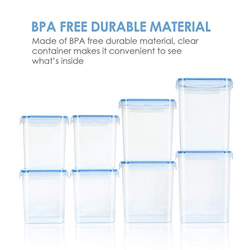 Large Tall Airtight Food Storage Containers 8 Pieces, Vtopmart BPA Free Plastic Kitchen Storage Containers for Bulk Food, Flour, Sugar and Baking Supplies, with 24 Labels, Blue
