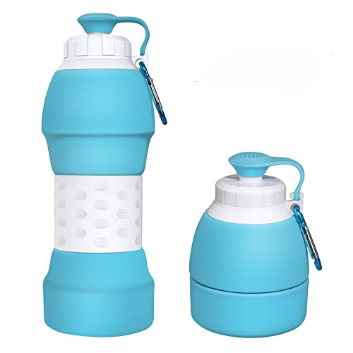 Ecosylife Collapsible Silicone Water Bottle - Portable Light Weight Anti Leakage BPA Free Medical Food Grade Sports Traveling Water Bottle(Blue)