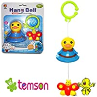 TEMSON Windup Sweet Cuddle Cot /Cradle Musical Rattle Set Hanging Rattle for Infants, Baby's 360 Degrees Plastic Rotating Rattles Musical Star Projector Hanging Bell Crib Toy with Sweet Sound (Multicolour)