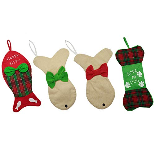 GZDDG 4 Pack Dog Christmas Stockings Pet Cat Christmas Ornament with Bowknot Fish/Dog Bone Holidays Christmas Stockings