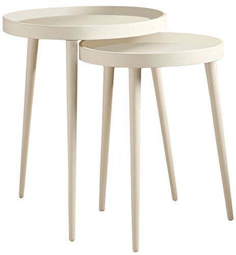 Monarch 2-Piece Nesting Table Set, Large, White by Monarch