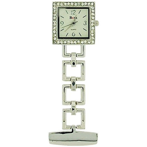 Boxx Glamour Silver Tone Square Open Link Professional Fob Watch BOXX009 (Tone Silver Open Link)