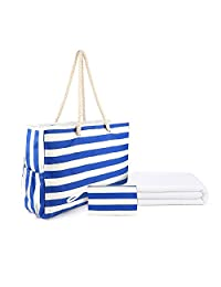 """Beach Bag XXL with Zipper Top, Huge L22""""xH15""""xW6"""" Extra Large Travel Tote, 100% Waterproof Canvas, Cotton Rope Handles and Gifts Beach Towel"""
