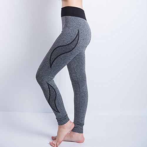 iLUGU Women Gym Yoga Patchwork Sports Running Fitness Leggings Pants Athletic Trouser(S,Black-35) by iLUGU (Image #1)