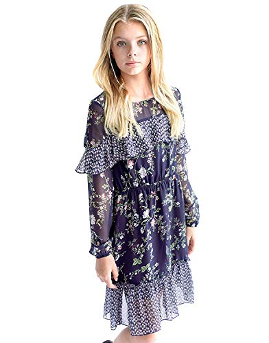 Smukke, Big Girls Floral Printed Dress with Lace Trim or Long Sleeves Tiered Ruffles(Many Options) 7-16 (7, Dark Navy Multi)