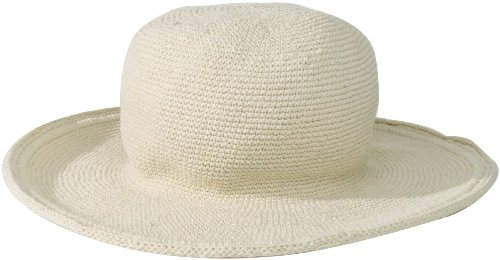San Diego Hat Company Women's Cotton Crochet Floppy Hat with 3 Inch Brim, Natural, One Size