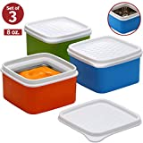 Baby insulated food storage container- toddler small leakproof thermal lunch containers -kids snack containers- square food container with airtight lid travel, on the go, daycare 3 pk. 8 oz bpa free