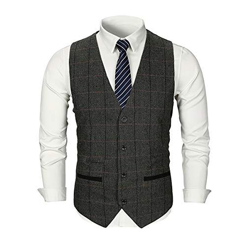 (Mens Slim Fit Plaid Tweed Suit Vest Woolen Formal Wedding Casual Waistcoat Button Down Tailored Tuxedo Vest Dark Grey)