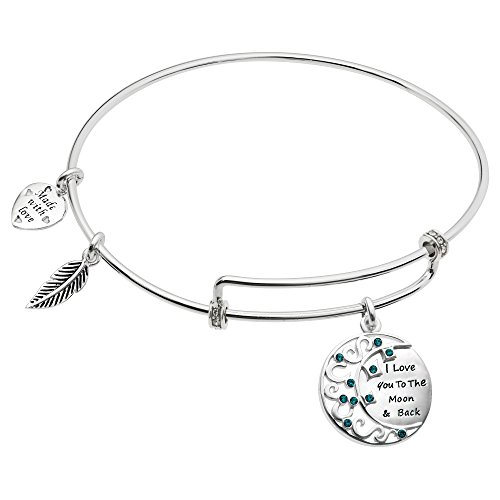 Rhodium On 925 Sterling Silver ''I Love You To The Moon And Back'' Cz Dangle Charm Adjustable Wire Bangle Bracelet