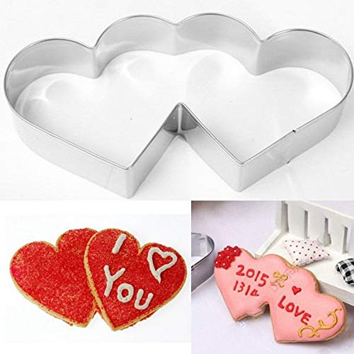 1 piece New Double Heart Cookies Cutter Cake Mold Sweet Love Cake Pastry DIY Mould Baking Tools Stainless Steel Metal