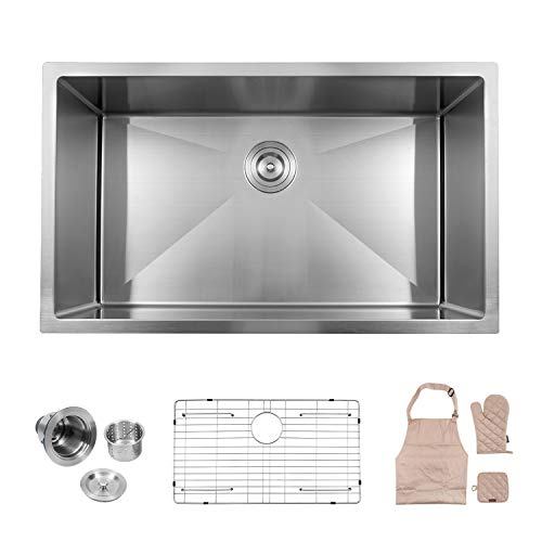 LORDEAR Commercial 32 Inch 16 Gauge 10 Inch Deep Brushed Nickel Drop In Single...
