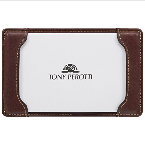Leather Memo Box - Tony Perotti Women's Italian Leather Pocket Note Memo Jotter Writing Pad Holder Case fits 5 x 3 Paper Index Cards Best for Doodle Drawing Or Scratch Drafts, Brown
